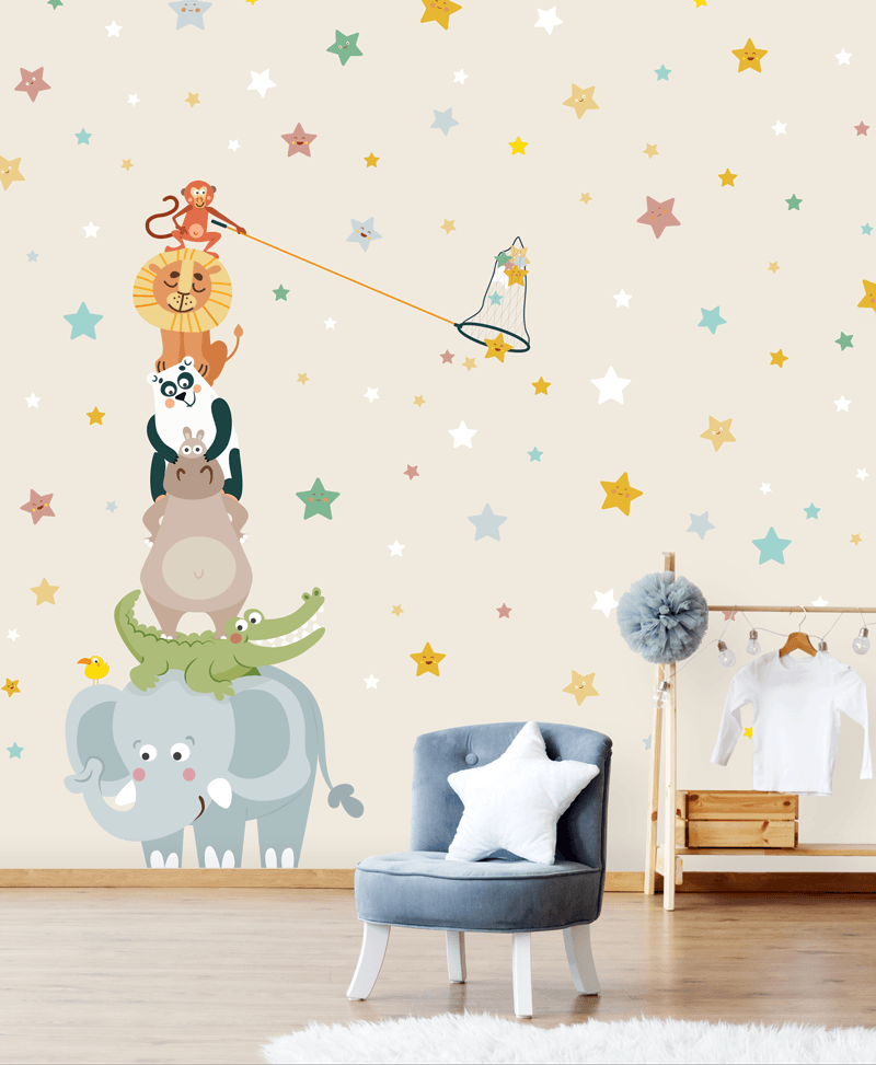 Gli acchiappa stelle beige carta da parati baby for Carta da parati 2016
