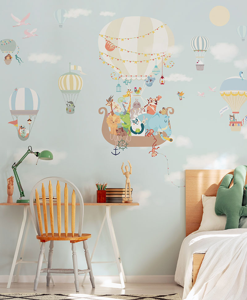 Carta Da Parati Lavabile Per Bambini.Volo In Mongolfiera Carta Da Parati Per Bambini Baby Interior Design