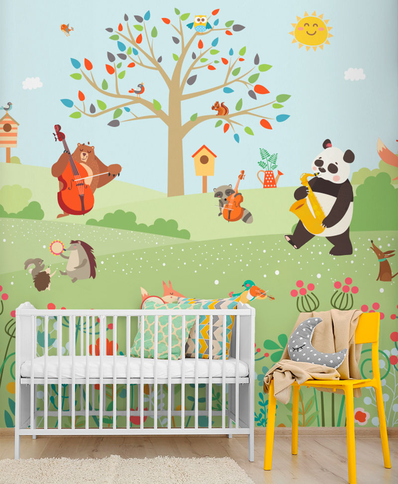 Carta Da Parati Per Camerette Neonati.Jazz In The Park Carta Da Parati Baby Interior Design Wallpaper