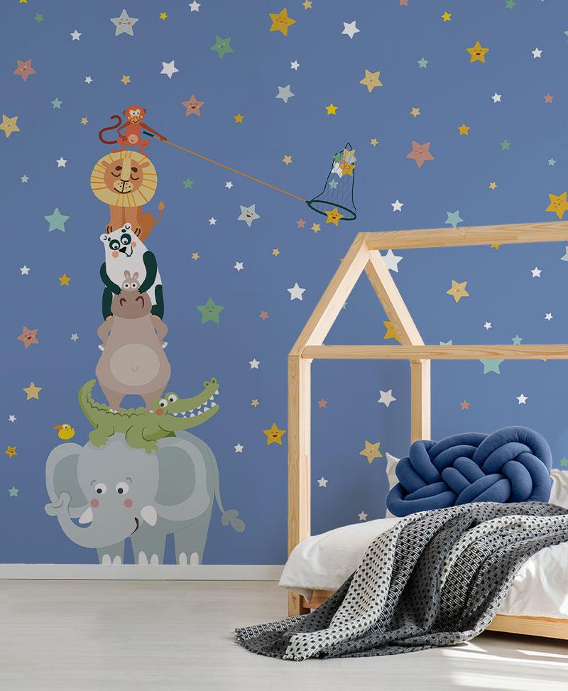 Carta Da Parati Lavabile Per Bambini.Gli Acchiappa Stelle Carta Da Parati Baby Interior Design Wallpaper